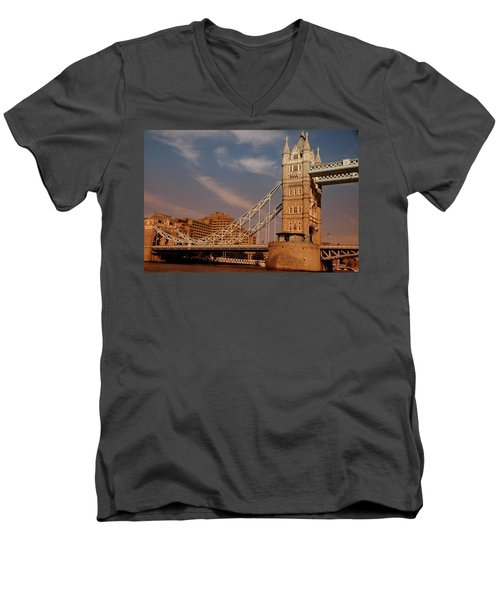 Men's V-Neck T-Shirt featuring the photograph Tower Bridge Sunset by Jonah  Anderson