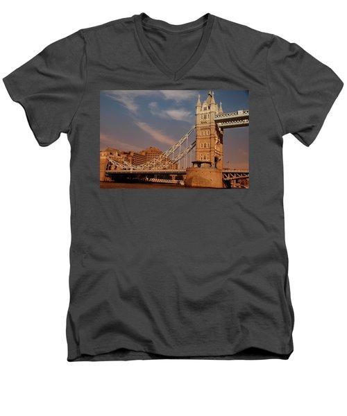 Tower Bridge Sunset Men's V-Neck T-Shirt by Jonah  Anderson
