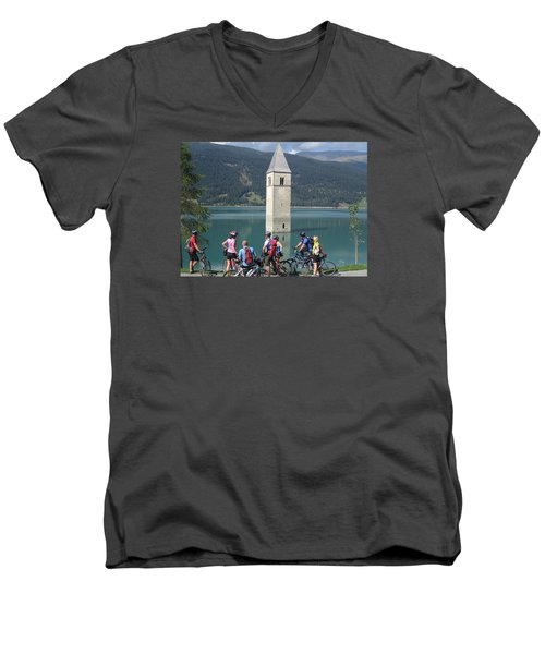 Tower In The Lake Men's V-Neck T-Shirt by Travel Pics
