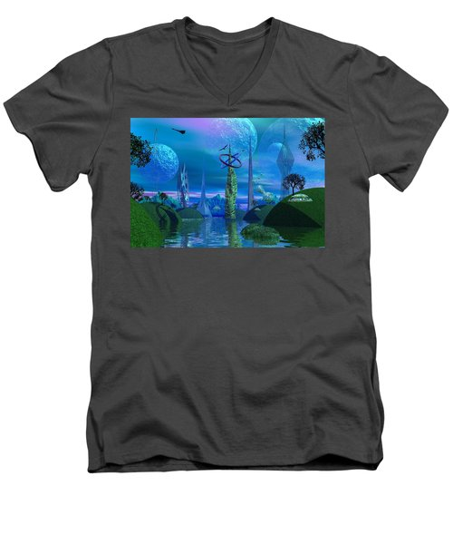 Tower Of Hurn Men's V-Neck T-Shirt by Mark Blauhoefer