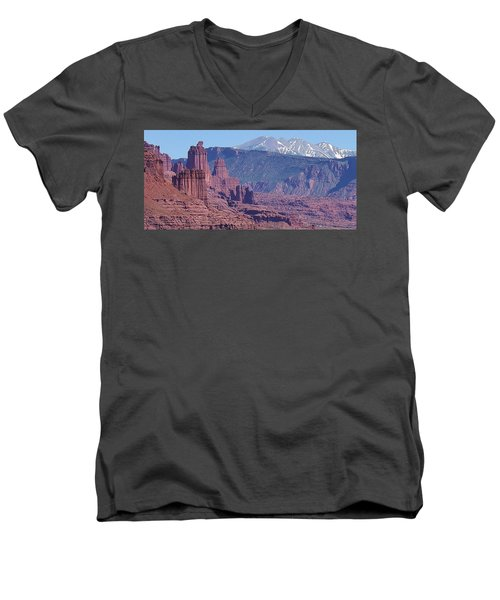 Men's V-Neck T-Shirt featuring the photograph Towering Rockformations by Bruce Bley