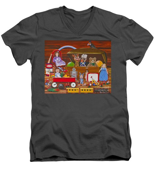 Men's V-Neck T-Shirt featuring the painting Toys In The Attic by Jennifer Lake