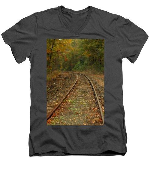 Tracking Thru The Woods Men's V-Neck T-Shirt by Karol Livote