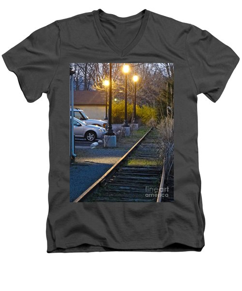 Tracks At Dusk Men's V-Neck T-Shirt