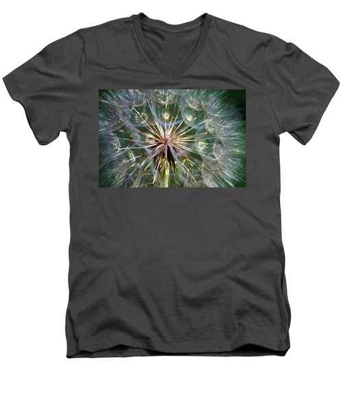 Men's V-Neck T-Shirt featuring the photograph Tragopogon Dubius Yellow Salsify Flower Fruit Seed by Karon Melillo DeVega
