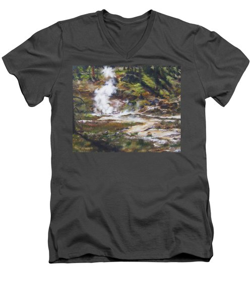 Trail To The Artists Paint Pots - Yellowstone Men's V-Neck T-Shirt