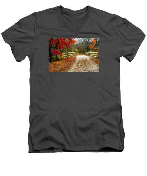 Trailing In Autumn Men's V-Neck T-Shirt