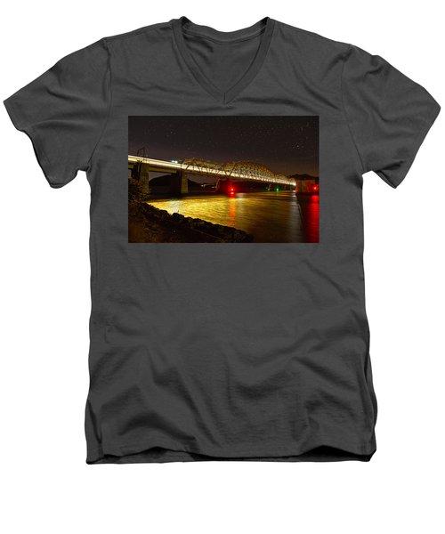 Train Lights In The Night Men's V-Neck T-Shirt