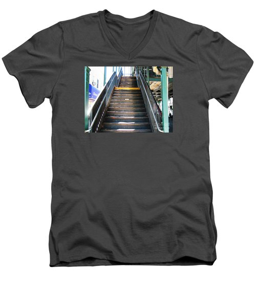 Train Staircase Men's V-Neck T-Shirt