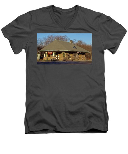 Train Stations And Libraries Men's V-Neck T-Shirt
