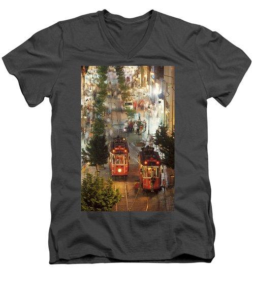 Trams In Beyoglu Men's V-Neck T-Shirt