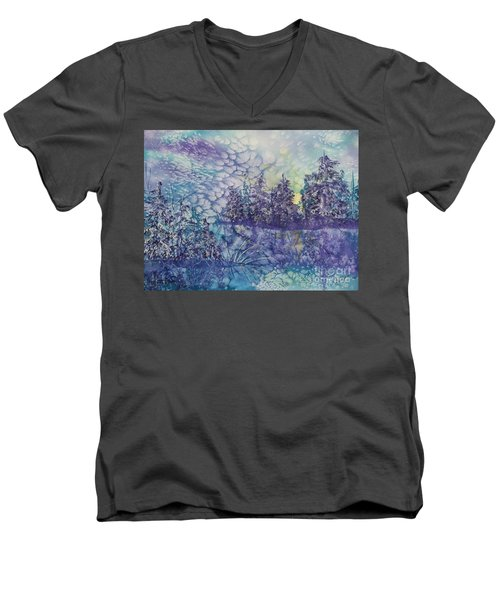 Tranquility Men's V-Neck T-Shirt by Ellen Levinson