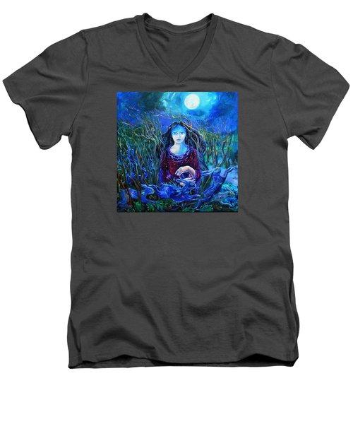 Eostra Holds The Moon Men's V-Neck T-Shirt