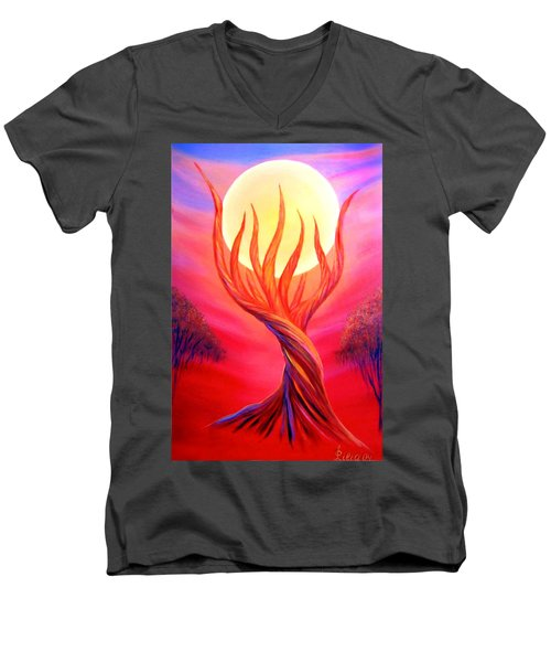 Men's V-Neck T-Shirt featuring the painting Trapped Moon by Lilia D