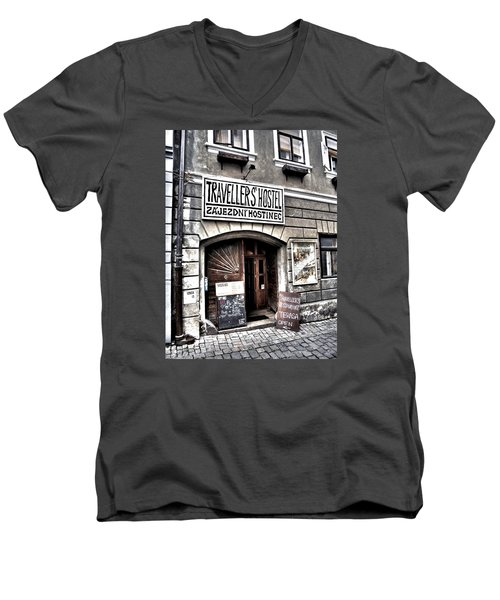 Men's V-Neck T-Shirt featuring the photograph Travellers Hostel - Cesky Krumlov by Juergen Weiss
