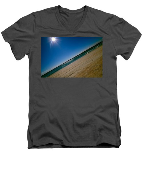 Men's V-Neck T-Shirt featuring the photograph Treads In The Sand by DigiArt Diaries by Vicky B Fuller