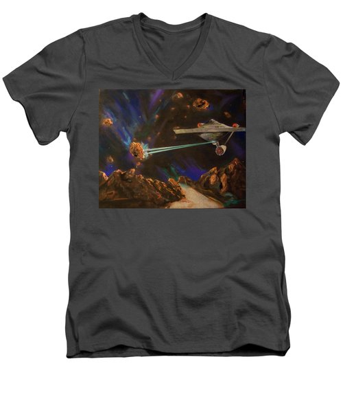 Men's V-Neck T-Shirt featuring the mixed media Trek Adventure by Peter Suhocke
