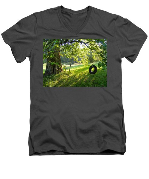 Tree And Tire Swing In Summer Men's V-Neck T-Shirt