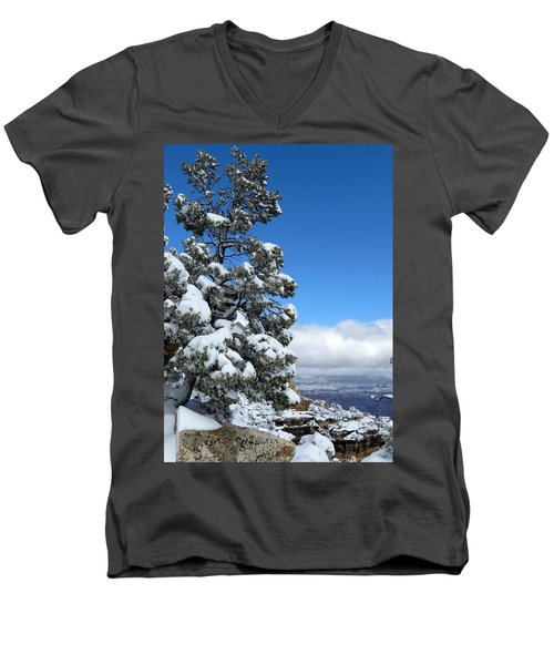 Men's V-Neck T-Shirt featuring the photograph Tree At The Grand Canyon by Laurel Powell