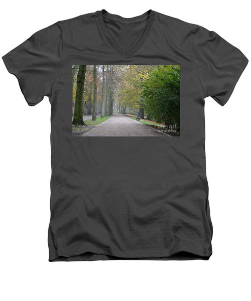 Men's V-Neck T-Shirt featuring the photograph Tree Lined Path In Fall Season Bruges Belgium by Imran Ahmed