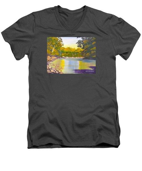 Tree Lined River Men's V-Neck T-Shirt