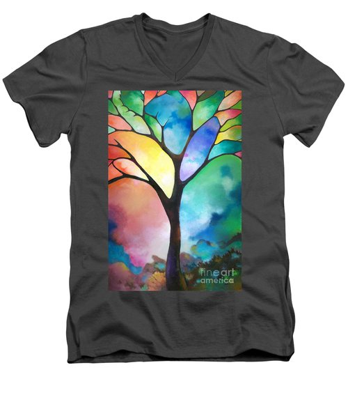 Original Art Abstract Art Acrylic Painting Tree Of Light By Sally Trace Fine Art Men's V-Neck T-Shirt by Sally Trace