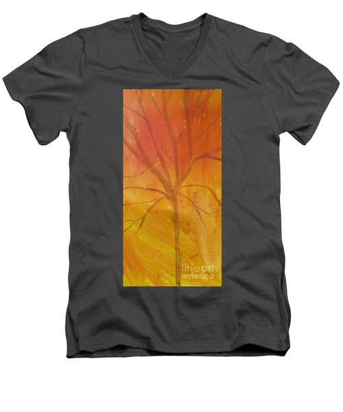 Men's V-Neck T-Shirt featuring the painting Tree Of Three Gold by Robin Maria Pedrero