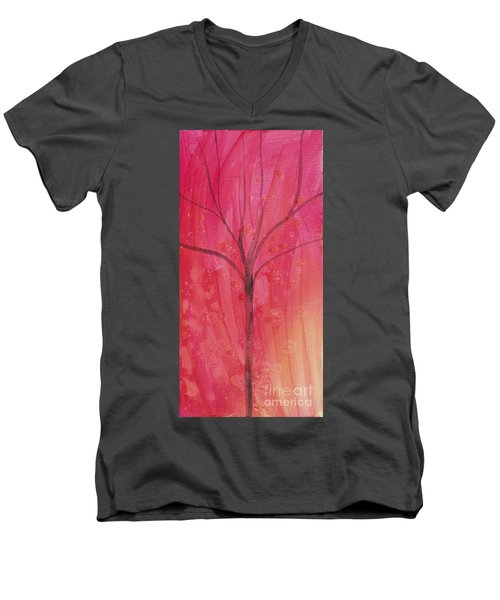 Men's V-Neck T-Shirt featuring the painting Tree Of Three Pink by Robin Maria Pedrero