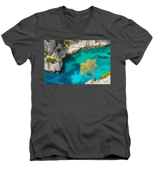 Tree On Turquoise Waters Men's V-Neck T-Shirt