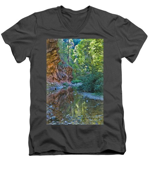Men's V-Neck T-Shirt featuring the photograph Tree Reflection by Mae Wertz