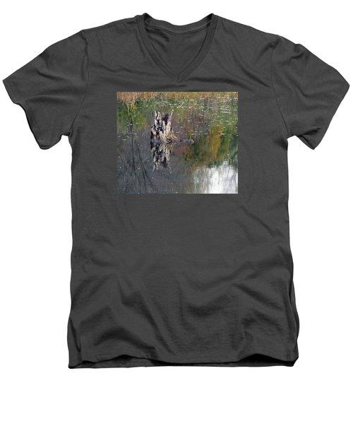 Tree Stump In Lake Katherine Men's V-Neck T-Shirt by Cedric Hampton