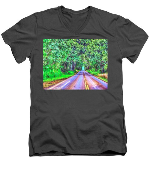 Tree Tunnel Kauai Men's V-Neck T-Shirt by Dominic Piperata