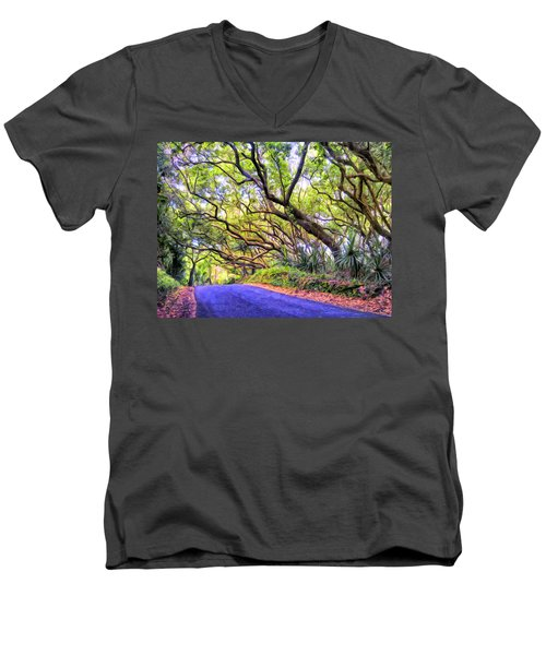 Tree Tunnel On The Big Island Men's V-Neck T-Shirt