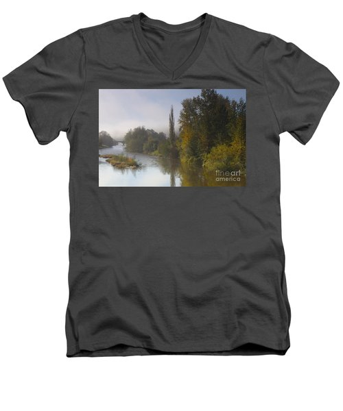 Trees A View From Usk Bridge Men's V-Neck T-Shirt