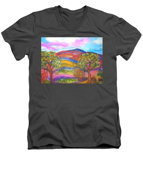 Trees And The Mountain Men's V-Neck T-Shirt