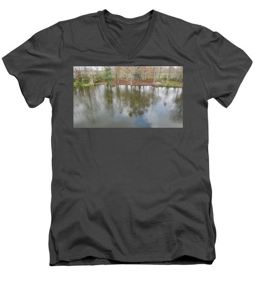 Men's V-Neck T-Shirt featuring the photograph Trees And Water by Ron Davidson