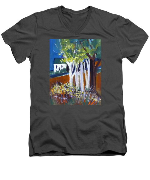 Trees And White Farm House Men's V-Neck T-Shirt by Betty Pieper