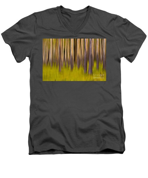 Men's V-Neck T-Shirt featuring the digital art Trees by Jerry Fornarotto