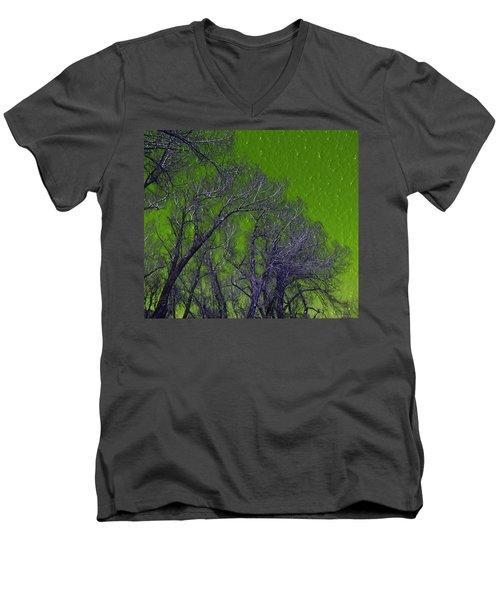 Trees On Green Sky Men's V-Neck T-Shirt
