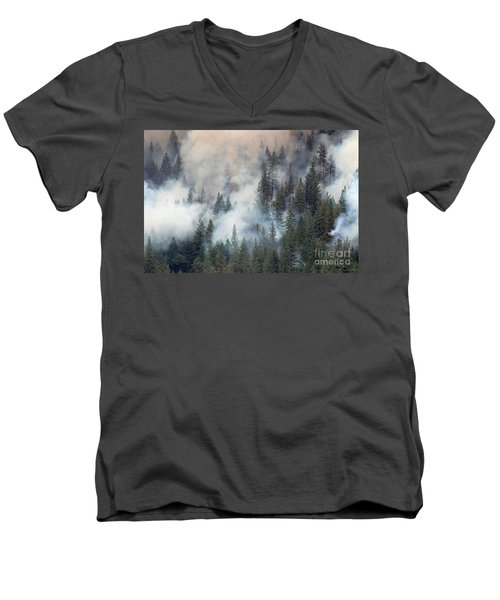 Beaver Fire Trees Swimming In Smoke Men's V-Neck T-Shirt