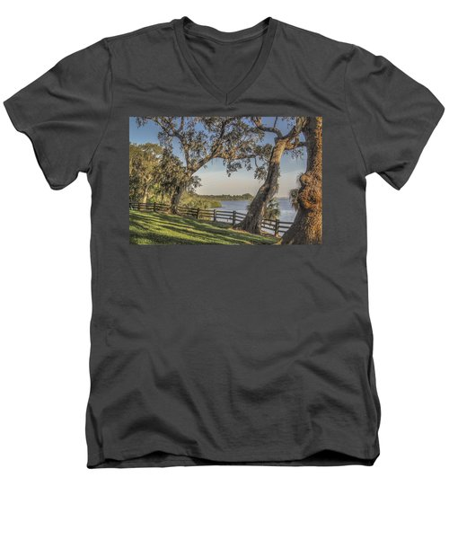 Men's V-Neck T-Shirt featuring the photograph Trees With A View by Jane Luxton