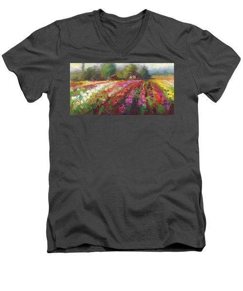 Trespassing Dahlia Field Landscape Men's V-Neck T-Shirt