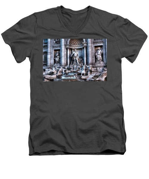 Men's V-Neck T-Shirt featuring the photograph Trevi Fountain by Joe  Ng