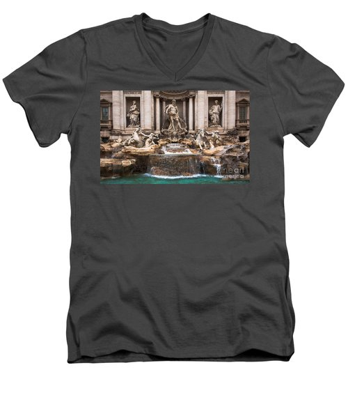 Men's V-Neck T-Shirt featuring the photograph Trevi Fountain by John Wadleigh
