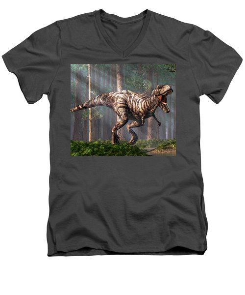 Trex In The Forest Men's V-Neck T-Shirt