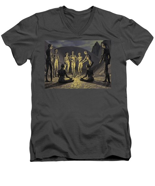Men's V-Neck T-Shirt featuring the digital art Tribe by John Alexander