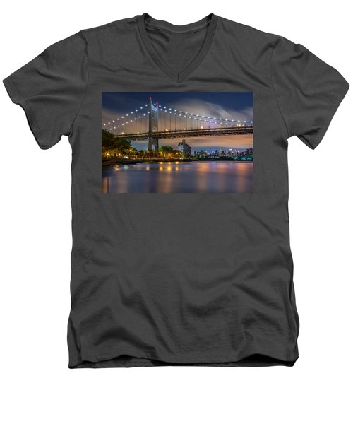 Triboro Bridge Men's V-Neck T-Shirt by Mihai Andritoiu