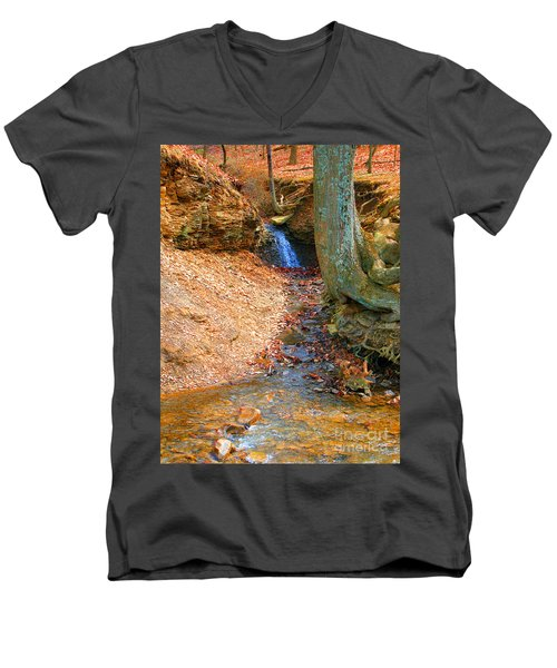 Trickling Waterfall By Shellhammer Men's V-Neck T-Shirt