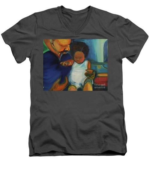 Trina Baby Men's V-Neck T-Shirt by Daun Soden-Greene