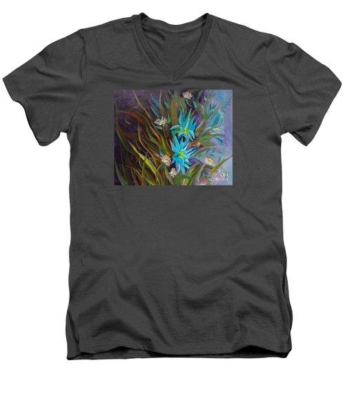 Tropical Blue Men's V-Neck T-Shirt by Jenny Lee